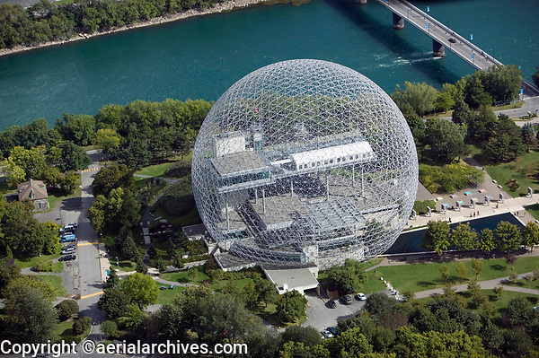 aerial photograph of the Biosphère geodesic dome, a Canadian environmental museum, Montreal, Quebec, Canada | photographie aérienne du dôme géodésique de la Biosphère, un musée canadien de l'environnement, Montréal, Québec, Canada