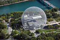 aerial photograph of the Biosphère geodesic dome, a Canadian environmental museum, Montreal, Quebec, Canada | photographie aérienne du dôme géodésique de la Biosphère, un musée canadien de l'environnement, Montréal, Québec, Canada