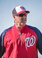 16 March 2014: Washington Nationals batting coach Rick Schu watches batting practice prior to a Spring Training Game against the Detroit Tigers at Space Coast Stadium in Viera, Florida. The Tigers edged out the Nationals 2-1 in Grapefruit League play. Mandatory Credit: Ed Wolfstein Photo *** RAW (NEF) Image File Available ***
