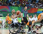 Tyler Miller, Rio 2016 - Wheelchair Basketball // Basketball en fauteuil roulant.<br /> Canadian men's wheelchair basketball team competes in the preliminaries against Netherlands // L'équipe canadienne masculine de basketball en fauteuil roulant participe à la ronde préliminaire contre les Pays-Bas. 09/09/2016.