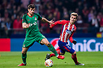 Nemanja Pejcinovic (L) of FC Lokomotiv Moscow fights for the ball with Antoine Griezmann  of Atletico de Madrid during the UEFA Europa League 2017-18 Round of 16 (1st leg) match between Atletico de Madrid and FC Lokomotiv Moscow at Wanda Metropolitano  on March 08 2018 in Madrid, Spain. Photo by Diego Souto / Power Sport Images
