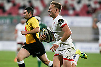 Friday 2nd October 2020 | Ulster Rugby vs Benetton Rugby<br /> <br /> Stewart Moore races clear to score during the PRO14 Round 1 clash between Ulster Rugby and Benetton Rugby at Kingspan Stadium, Ravenhill Park, Belfast, Northern Ireland. Photo by John Dickson / Dicksondigital