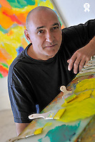 French Painter Michel Gentil with his paintings, (Licence this image exclusively with Getty: http://www.gettyimages.com/detail/84869065 )