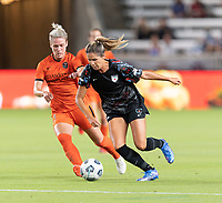 HOUSTON, TX - SEPTEMBER 10: Katie Johnson #33 of the Chicago Red Stars and Sophie Schmidt #13 of the Houston Dash battle for control of the ball during a game between Chicago Red Stars and Houston Dash at BBVA Stadium on September 10, 2021 in Houston, Texas.