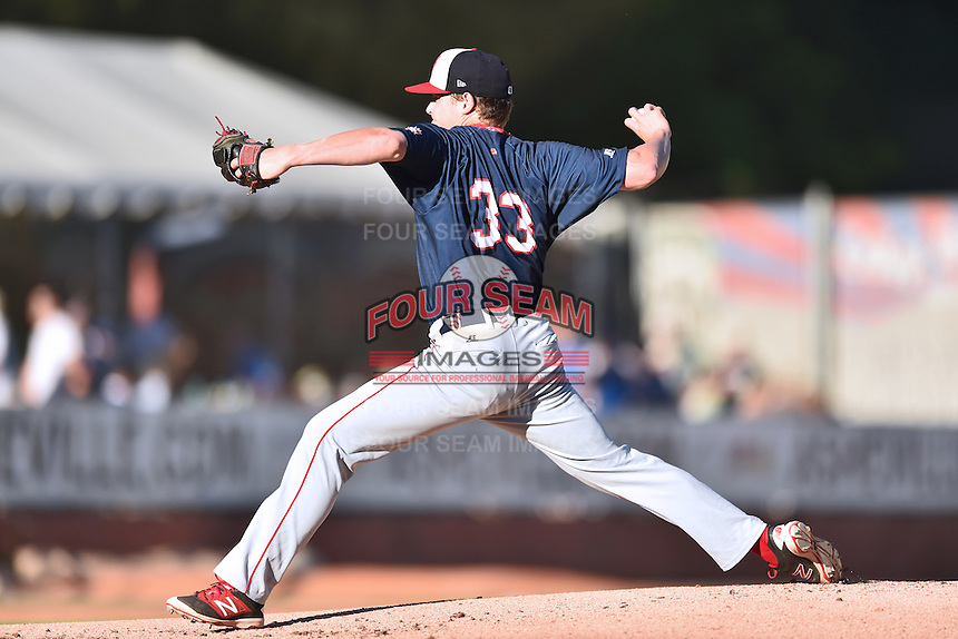 Hagerstown Suns starting pitcher Matthew DeRosier (33) delivers a pitch during a game against the  Asheville Tourists at McCormick Field on June 7, 2016 in Asheville, North Carolina. The Tourists defeated the Suns 6-5. (Tony Farlow/Four Seam Images)