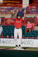 Erie SeaWolves Cam Gibson (14) gives the thumbs up to teammates during an Eastern League game against the Richmond Flying Squirrels on August 28, 2019 at UPMC Park in Erie, Pennsylvania.  Richmond defeated Erie 6-4 in the first game of a doubleheader.  (Mike Janes/Four Seam Images)
