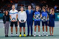 Rotterdam, The Netherlands, 15 Februari 2020, ABNAMRO World Tennis Tournament, Ahoy,<br /> Men's Doubles Final: Men's Doubles Final: Pierre-Hugues Herbert (FRA) and Nicolas Mahut (FRA), Henri Kontinen (FIN) and Jan-Lennard Struff (GER) receive their awards.<br /> Photo: www.tennisimages.com