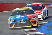 #18: Kyle Busch, Joe Gibbs Racing, Toyota Camry M&M's, #21: Paul Menard, Wood Brothers Racing, Ford Fusion Motorcraft / Quick Lane Tire & Auto Center