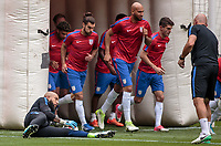 Mexico City, Mexico - Sunday June 11, 2017: Tim Howard, Graham Zusi, John Brooks, Christian Pulisic and Matt Reis during a 2018 FIFA World Cup Qualifying Final Round match with both men's national teams of the United States (USA) and Mexico (MEX) playing to a 1-1 draw at Azteca Stadium.