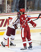 Ryan Fitzgerald (BC - 19), Tyler Barnes (Wisconsin - 7) - The Boston College Eagles defeated the visiting University of Wisconsin Badgers 9-2 on Friday, October 18, 2013, at Kelley Rink in Conte Forum in Chestnut Hill, Massachusetts.