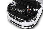 Car stock 2018 Peugeot 308 GT Line 5 Door Hatchback engine high angle detail view
