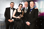 © Joel Goodman - 07973 332324 . 03/03/2016 . Manchester , UK . Winner Chartered Legal Executive of the Year , RACHEL STEVENS of Keoghs (2nd left) . The Manchester Legal Awards from the Midland Hotel . Photo credit : Joel Goodman