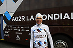 Sebastien Minard (FRA) AG2R La Mondial at the team bus before the start of the 98th edition of Liege-Bastogne-Liege outside the Palais des Princes-Eveques, running 257.5km from Liege to Ans, Belgium. 22nd April 2012.  <br /> (Photo by Eoin Clarke/NEWSFILE).