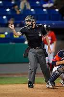 Umpire Alex Ziegler makes a call during a game between the Brevard County Manatees and Daytona Cubs at Spacecoast Stadium on April 5, 2013 in Viera, Florida.  Daytona defeated Brevard County 8-0.  (Mike Janes/Four Seam Images)