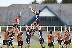 Leinster lock Ben Marshall wins the line out ball.<br /> British & Irish Cup<br /> Carmarthen Quins v Leinster A<br /> Carmarthen Park<br /> 25.10.14<br /> ©Steve Pope-SPORTINGWALES