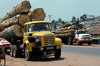 Deforestation: Trucks loaded with logs in western Ivory Coast, West Africa..