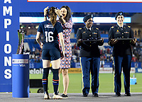 FRISCO, TX - MARCH 11: Rose Lavelle #16 of the United States receives her medal during a game between Japan and USWNT at Toyota Stadium on March 11, 2020 in Frisco, Texas.