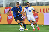 Francesco Acerbi of Italy and Gojko Cimirot of Bosnia during the Uefa Nation League Group Stage A1 football match between Italy and Bosnia at Artemio Franchi Stadium in Firenze (Italy), September, 4, 2020. Photo Massimo Insabato / Insidefoto