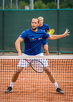 Netherlands, September 27,  2020, Beneden-Leeuwen, TV Lewabo, Competition, Men's premier league, TV Lewabo vs TV Suthwalda, Doubles:   J.Jans (NED) and Boy Westerhof (NED) (L)<br /> Photo: Henk Koster/tennisimages.com