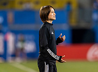 FRISCO, TX - MARCH 11: Asako Takakura of Japan yells to her team during a game between Japan and USWNT at Toyota Stadium on March 11, 2020 in Frisco, Texas.