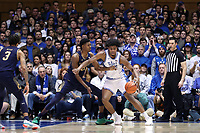 DUKE, NC - FEBRUARY 15: Vernon Carey Jr. #1 of Duke University is defended by Juwan Durham #11 of the University of Notre Dame during a game between Notre Dame and Duke at Cameron Indoor Stadium on February 15, 2020 in Duke, North Carolina.