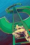 Illustrative image of businessman climbing ladder on dollar sign representing growth