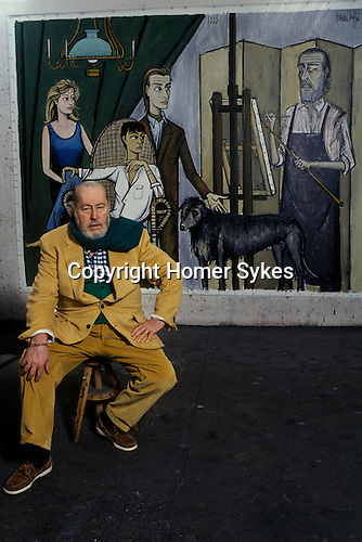 Bernard Buffet French artist expressionist painter (1928-1999) France Circa 1995. His studio at home Tourtour Provence France. The painting is of his family with Annabel seated. 1994.