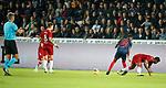 08.08.2019 FC Midtjylland v Rangers: Alfredo Morelos booked for challenge on Frank Ogochukwu