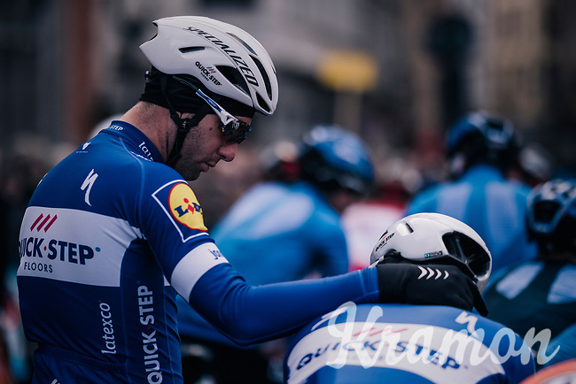 little bro-moment before the race start in the Central Square in Bruges between teammates Fabio Sabatini (ITA/Quick-Step Floors) & Ariel Maximiliano Richeze (ARG/Quick-Step Floors)<br /> <br /> Driedaagse Brugge-De Panne 2018<br /> Bruges - De Panne (202km)