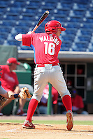 Philadelphia Phillies third baseman Mitch Walding #16 during an Instructional League game against the Detroit Tigers at Brighthouse Field on October 5, 2011 in Clearwater, Florida.  (Mike Janes/Four Seam Images)