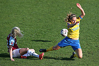 Aileen Whelan of Brighton tangles with Grace Fisk of West Ham during West Ham United Women vs Brighton & Hove Albion Women, Barclays FA Women's Super League Football at the Chigwell Construction Stadium on 15th November 2020