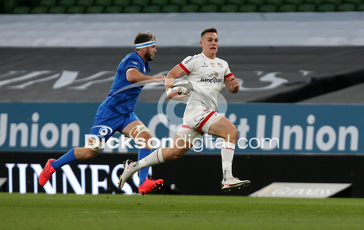 Saturday 12th September 2020 | PRO14 Final - Leinster vs Ulster<br /> <br /> James Hume races clear to score for Ulster during the Guinness PRO14 Final between Leinster ands Ulster at the Aviva Stadium, Lansdowne Road, Dublin, Ireland. Photo by John Dickson / Dicksondigital