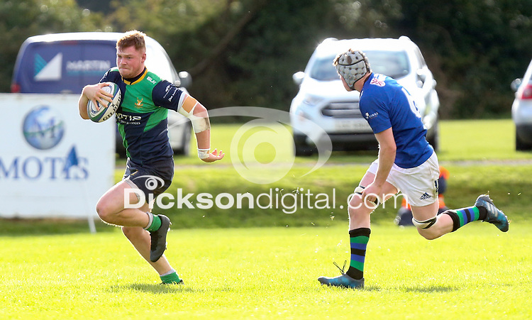 Saturday 10th October 2020 | Ballynahinch vs Queens<br /> <br /> Callum Irvine during the Energia Community Series clash between Ballynahinch and Queens at Ballymacarn Park, Ballynahinch, County Down, Northern Ireland. Photo by John Dickson / Dicksondigital