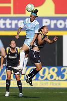 Natasha Kai (6) of Sky Blue FC battles Stephanie Cox (14) of Los Angeles Sol during a Women's Professional Soccer match at TD Bank Ballpark in Bridgewater, NJ, on April 5, 2009. Photo by Howard C. Smith/isiphotos.com
