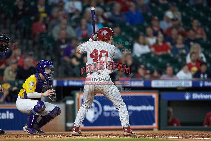 Brady Lindsly (40) of the Oklahoma Sooners at bat against the LSU Tigers in game seven of the 2020 Shriners Hospitals for Children College Classic at Minute Maid Park on March 1, 2020 in Houston, Texas. The Sooners defeated the Tigers 1-0. (Brian Westerholt/Four Seam Images)