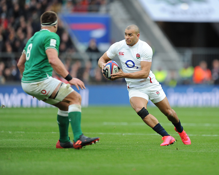 Jonathan Joseph of England wrong foots CJ Stander of Ireland during the Guinness Six Nations match between England and Ireland at Twickenham Stadium on Sunday 23rd February 2020 (Photo by Rob Munro/Stewart Communications)