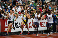EUGENE, OR--From left, Kevin Elliott Nick Bromley Jebrah Harris Jonathan Johnson race in teh men's 800m at the the Steve Prefontaine Classic, Hayward Field, Eugene, OR. SUNDAY, JUNE 10, 2007. PHOTO © 2007 DON FERIA