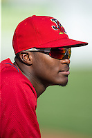 DeAndre Asbury-Heath (5) of the Johnson City Cardinals prior to the game against the Elizabethton Twins at Joe O'Brien Field on July 11, 2015 in Elizabethton, Tennessee.  The Twins defeated the Cardinals 5-1. (Brian Westerholt/Four Seam Images)