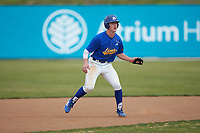 Scottie Lee (11) of the Mars Hill Lions takes his lead off of second base against the Queens Royals at Intimidators Stadium on March 30, 2019 in Kannapolis, North Carolina. The Royals defeated the Bulldogs 11-6 in game one of a double-header. (Brian Westerholt/Four Seam Images)
