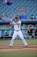 New Orleans Zephyrs catcher Jeff Mathis (6) at bat against the Albuquerque Isotopes in a game at Zephyr Field on May 28, 2015 in Metairie, Louisiana. (Derick E. Hingle/Four Seam Images)