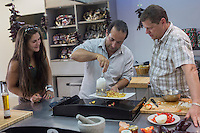 France, Aquitaine, Pyrénées-Atlantiques, Pays Basque, Espelette: Cours de cuisine avec le piment d'Espelette, préparation de l'omelette basque au piment d'Espelette chez Ramuntxo Pochelu, L'Atelier du Piment  //  France, Pyrenees Atlantiques, Basque Country, Espelette: Cooking lessons with Espelette pepper, preparation of the Basque Espelette pepper omelette with Ramuntxo Pochelu, Cooking lessons with Espelette pepper, preparation of the Basque Espelette pepper omelette with Ramuntxo Pochelu,