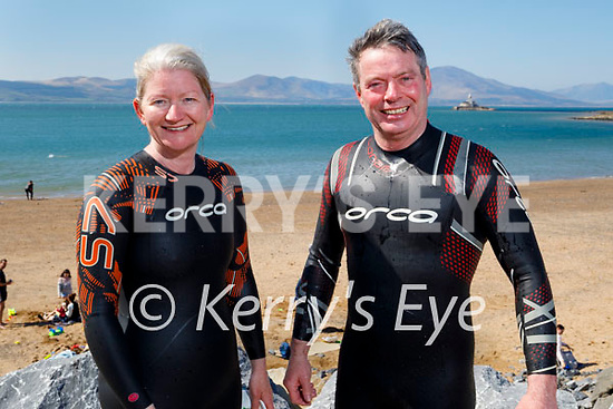Margaret and James Mahoney from Ballydonghue ready to take the plunge in Fenit on Sunday morning.