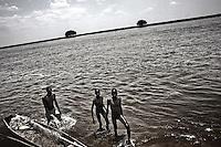 South Sudan. 25 March 2011...Young Medari fishermen on Nile, near Terekeka..