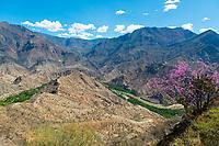 Gebirge der Zentrale Kordillere mit dem Fluss Maranon (Río Marañón) und grüne Ufer, Provinz Amazonas/Cajamarca, Peru, Südamerika