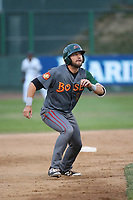 J.B. Moss (1) of the Boise Hawks runs the bases during a game against the Everett AquaSox at Everett Memorial Stadium on July 20, 2017 in Everett, Washington. Everett defeated Boise, 13-11. (Larry Goren/Four Seam Images)