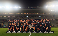 The All Blacks celebrate winning the Bledisloe Cup rugby match between the New Zealand All Blacks and Australia Wallabies at Eden Park in Auckland, New Zealand on Saturday, 14 August 2021. Photo: Simon Watts / lintottphoto.co.nz / bwmedia.co.nz