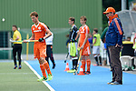 GER - Mannheim, Germany, May 25: During the U16 Boys match between The Netherlands (orange) and Germany (black) during the international witsun tournament on May 25, 2015 at Mannheimer HC in Mannheim, Germany. Final score 3-4 (1-2). (Photo by Dirk Markgraf / www.265-images.com) *** Local caption *** head coach Eric van der Pol of The Netherlands