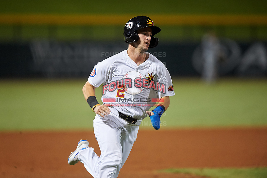 Mesa Solar Sox Zack Short (2), of the Chicago Cubs organization, runs home during an Arizona Fall League game against the Peoria Javelinas on September 21, 2019 at Sloan Park in Mesa, Arizona. Mesa defeated Peoria 4-1. (Zachary Lucy/Four Seam Images)