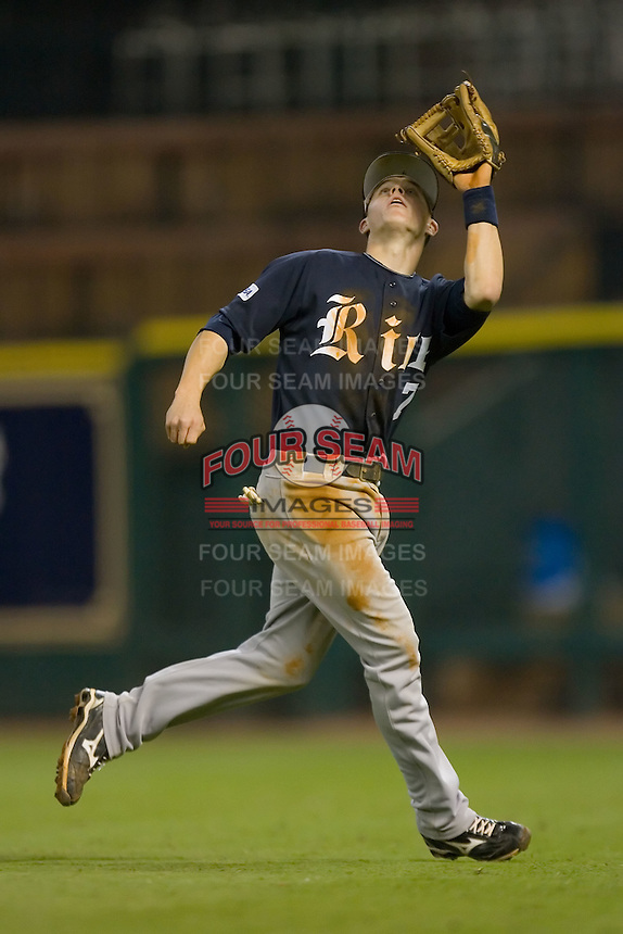 Second baseman Brock Holt #7 chases down a fly ball in shallow right field versus the Texas A&M Aggies in the 2009 Houston College Classic at Minute Maid Park February 28, 2009 in Houston, TX.  The Owls defeated the Aggies 2-0. (Photo by Brian Westerholt / Four Seam Images)