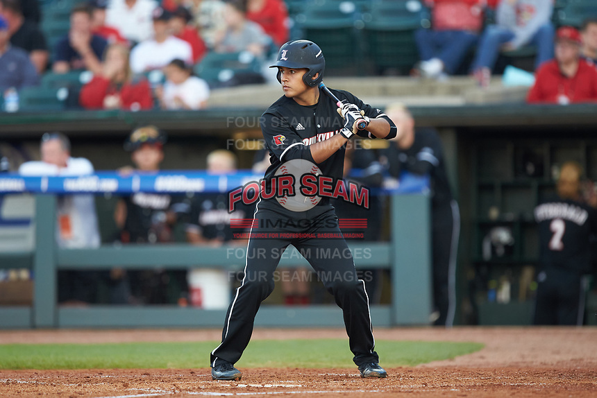 Zeke Pinkham (11) of the Louisville Cardinals at bat against the Notre Dame Fighting Irish in Game Eight of the 2017 ACC Baseball Championship at Louisville Slugger Field on May 25, 2017 in Louisville, Kentucky. The Cardinals defeated the Fighting Irish 10-3. (Brian Westerholt/Four Seam Images)